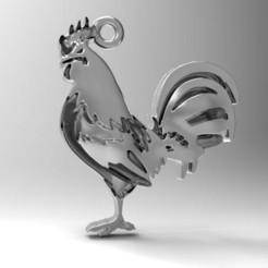 Rooster .0.jpg Download STL file Rooster pendant • 3D printable design, carle-leo