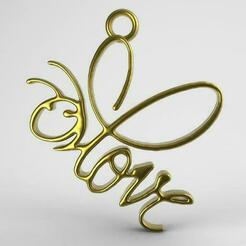 Love bee pendant .1.jpg Download STL file Love bee pendant • 3D printer object, carle-leo
