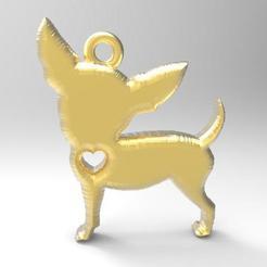 Chihuahua pendant .1.jpg Télécharger fichier STL Pendentif Chihuahua 1 • Objet imprimable en 3D, carle-leo