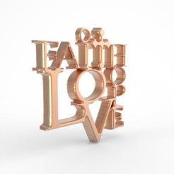 Download 3D printer files Love faith hope pendant,, carle-leo