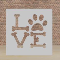 love dog.png Télécharger fichier STL pochoir chien d'amour • Plan imprimable en 3D, diklonius