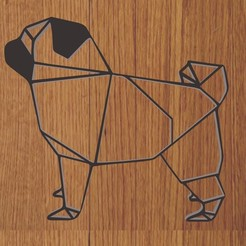 pug.jpg Download STL file KEYCHAIN / PENDANT DOG PUG GEOMETRIC • 3D printing model, diklonius