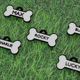 COLLARES PARA PERROS.jpg Download STL file PLATE WITH NAME FOR DOG • 3D printer object, diklonius