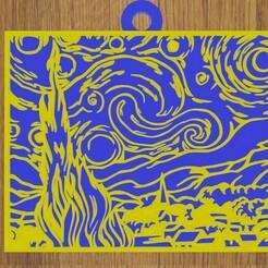 1.jpg Download STL file KEYCHAIN The starry night • 3D printable design, diklonius