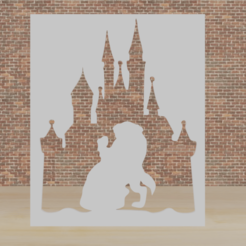 diney bella y bestia.png Download STL file stencil disney beauty and beast • 3D printable object, diklonius