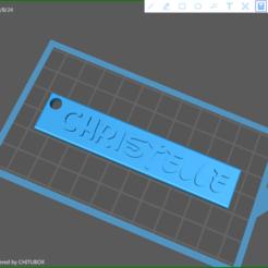 screenShot_Porte_Cle_Christelle.png Télécharger fichier STL gratuit Porte-Clé • Modèle imprimable en 3D, huppertzbruno