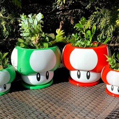 IMG_9185 (1).jpg Download STL file Mario Themed Mushroom Planter | Assemble-After-Print & Dual-Color/Multi-Material Print Files • 3D printing model, ThinAirCraftworks