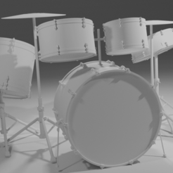 Drums A.png Download free STL file Scaled model of Drum Set • 3D printer design, itzu
