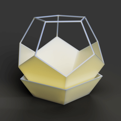 Flower pot - Penta, thin wall 10.png Download OBJ file Flower pot, Dodecahedron, with saucer base • Model to 3D print, VladimirJonas