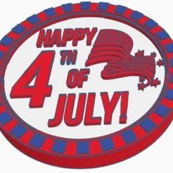 4th_July.JPG Télécharger fichier STL gratuit 4 juillet Dessous de verre • Modèle pour impression 3D, charleshuangfei