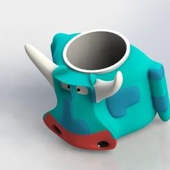 cowpreview.JPG Download STL file Robo cow pen holder or vase • 3D printable design, engaminirani