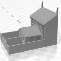 Terrace LRR 1f-W-02.jpg Télécharger fichier STL Maison en terrasse arrière à bas-relief de jauge N avec extension d'un étage et murs • Plan imprimable en 3D, Planograph
