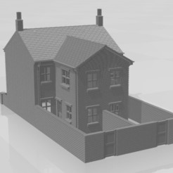 Park Street 2f w-02.jpg Download STL file N Gauge Terraced House with Two Storey Extension and walls • 3D printer object, Planograph