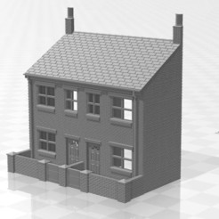 Terrace LRF W-01.jpg Download STL file N Gauge Low Relief Front Terraced House with walls • 3D printer design, Planograph