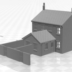 Terrace 1f-we-01.jpg Download STL file N Gauge Low Relief Rear Terraced House With Single Storey Extension and end walls • 3D printable object, Planograph