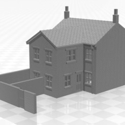Terrace 2f-we-02.jpg Download STL file N Gauge Terraced House with Two Storey Extension and end walls • Object to 3D print, Planograph