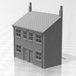 Terrace LRF-01.jpg Download STL file N Gauge Low Relief Front Terraced House • 3D printer template, Planograph