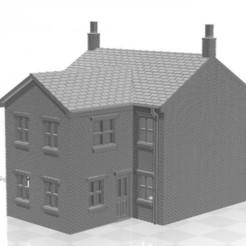 Terrace 2f-02.jpg Télécharger fichier STL Maison mitoyenne à l'échelle N avec extension de deux étages • Design à imprimer en 3D, Planograph