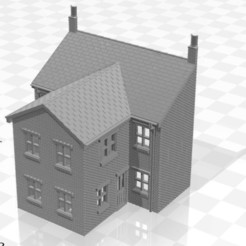 Terrace LRR 2f-01.jpg Download STL file N Gauge Low Relief Rear Terraced House With Single Storey Extension Two • 3D printable model, Planograph