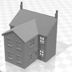 Terrace LRR 2f-01.jpg Télécharger fichier STL Maison en terrasse arrière à bas relief de jauge N avec un seul étage, extension deux • Objet pour imprimante 3D, Planograph
