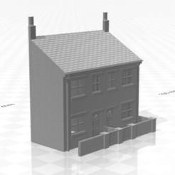 Terrace LRF WE-01.jpg Download STL file N Gauge Low Relief Terraced House With End Walls • 3D print model, Planograph