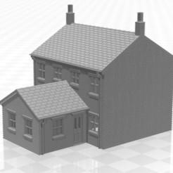 Terrace 1f-02.jpg Télécharger fichier STL Maison mitoyenne à l'échelle N avec extension d'un étage • Modèle à imprimer en 3D, Planograph
