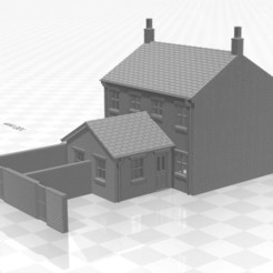 Terrace 1f-we-02.jpg Download STL file N gauge TERRACED HOUSE WITH end walls Single STOREY EXTENSION • 3D printing template, Planograph