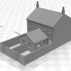Terrace 1F-W-02.jpg Download STL file N gauge Terraced House with Single Storey Extension and walls • Model to 3D print, Planograph
