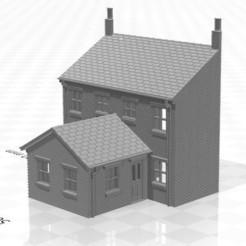 Terrace LRR 1f-01.jpg Télécharger fichier STL Maison en terrasse arrière à bas relief de jauge N avec extension d'un étage • Objet pour imprimante 3D, Planograph
