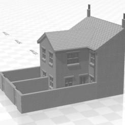 Terrace LRR 2f-W-02.jpg Télécharger fichier STL Maison en terrasse arrière à bas-relief de jauge N avec extension à deux étages et murs • Plan pour impression 3D, Planograph