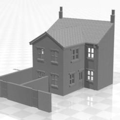 Terrace LRR 2f-we-01.jpg Télécharger fichier STL Maison en terrasse arrière en bas-relief de jauge N avec extension de deux étages et murs d'extrémité • Objet imprimable en 3D, Planograph