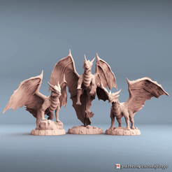 Download 3D printing files Dragon Fantasy Pack (3 models), cursedforgeminiatures