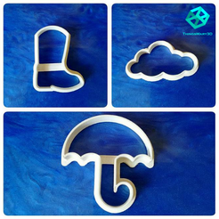 Design sem nome (7).png Download STL file RAIN BOOT, UMBRELLA, CLOUD COOKIE CUTTER  • 3D print template, ThingsMary3D
