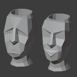 IMAGEN1.jpg Télécharger fichier STL SAD FACE POT HAPPY FACE LOW POLY • Modèle pour imprimante 3D, Carlostfe1972