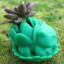 IMG_8216.JPG Download free STL file Blooming Bulbasaur Planter With Leaf Drainage Tray • Design to 3D print, mechengineermike