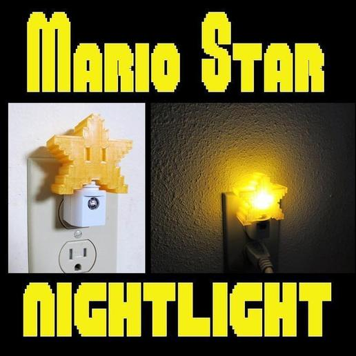 mainstar.jpg Download STL file 8-bit Mario Star Night Light, Original Super Mario Themed Yellow Pixel Star LED light with Auto On/Off • 3D printing template, mechengineermike