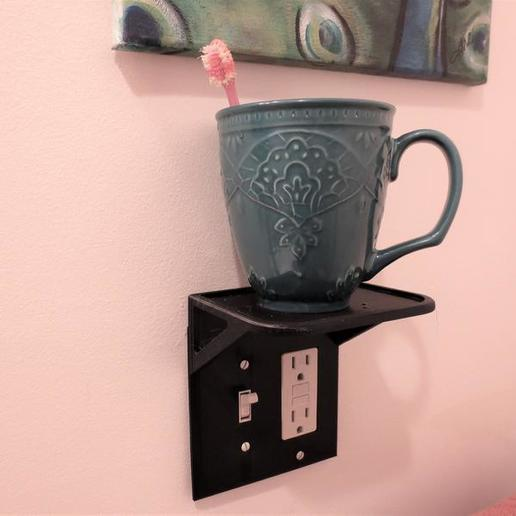 il_794xN.1833724431_2enm.jpg Download STL file Custom Wall Outlet Shelf Stand! Use as a Phone Mount Dock, Amazon Alexa Echo Holder, Tablet Charger, Charging Station, or Organization Table • 3D print template, mechengineermike