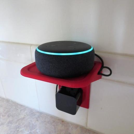 il_794xN.1817938755_g6dk.jpg Download STL file Custom Wall Outlet Shelf Stand! Use as a Phone Mount Dock, Amazon Alexa Echo Holder, Tablet Charger, Charging Station, or Organization Table • 3D print template, mechengineermike