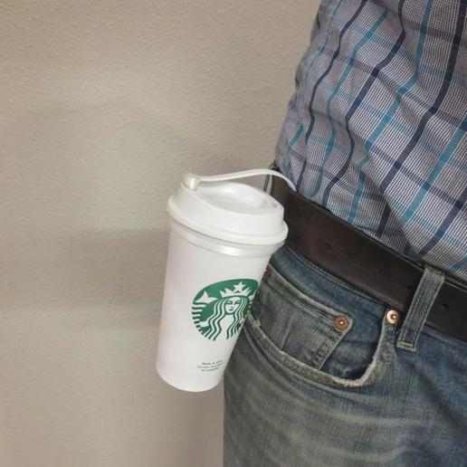 il_794xN.2248020261_5rgu.jpg Download STL file Plug for Starbucks Hot Cup, Flexible plug for the standard reusable Travel To go Starbucks Venti grande coffee cup, doubles as belt strap • 3D print template, mechengineermike