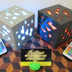 IMG_8019.JPG Download free STL file Minecraft Inspired Ore Cube LED Lamp, USB+Remote OR Batteries • Model to 3D print, mechengineermike