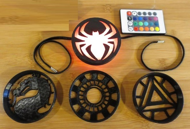 il_794xN.2021728908_sm03.jpg Download STL file LED Medallion, Wearable as Belt Buckle, Necklace, Strap-on Chest, Bracelet, Multicolor Batman, Spiderman, Marvel, Arc Reactor Cosplay Costume Prop, Comiccon, Halloween • Model to 3D print, mechengineermike