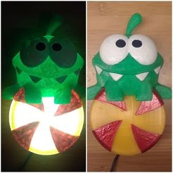 81333340_10157173750636379_5380699393085145088_o.jpg Download free STL file Om Nom Lamp, cut the rope candy LED light • 3D printing design, mechengineermike