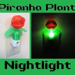 Piranha_Plant.jpg Download free STL file Piranha Plant Nightlight (Super Mario Night Light) • Template to 3D print, mechengineermike