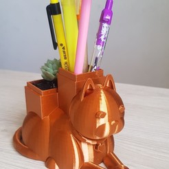 5.jpg Download STL file Potted Cat and Pencil Holder • 3D printable design, yeisonacostaacosta