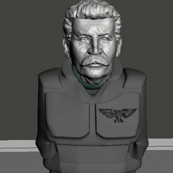 display 1.jpg Download free STL file Comrade Stalin 28mm Head for Angry Spaceguard • 3D printing design, Valiant_Armory