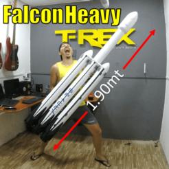 dfghfrgfy.png Télécharger fichier STL Falcon Heavy SpaceX 1,90 mt de hauteur • Modèle imprimable en 3D, TRex