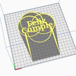 Toper Feliz Cumple Circulos.jpg Download STL file Happy Birthday Toper Circle • Design to 3D print, almeidamad