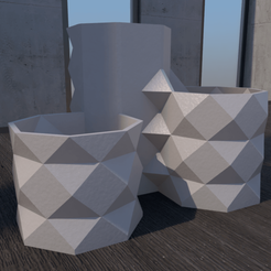 01_Escena7.effectsResult.png Download STL file Desk 3 Flower Pot • 3D printable design, xracksox