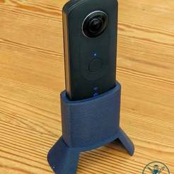 RicohBase06.jpg Download free STL file Ricoh Theta S Stable Camera Base • 3D printable template, GeekyFayeArt