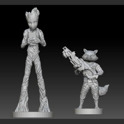 1.jpg Download STL file ROCKET GROOT PACK AVENGERS MCU GUARDIANS OF THE GALAXY • Model to 3D print, figuremasteracademy